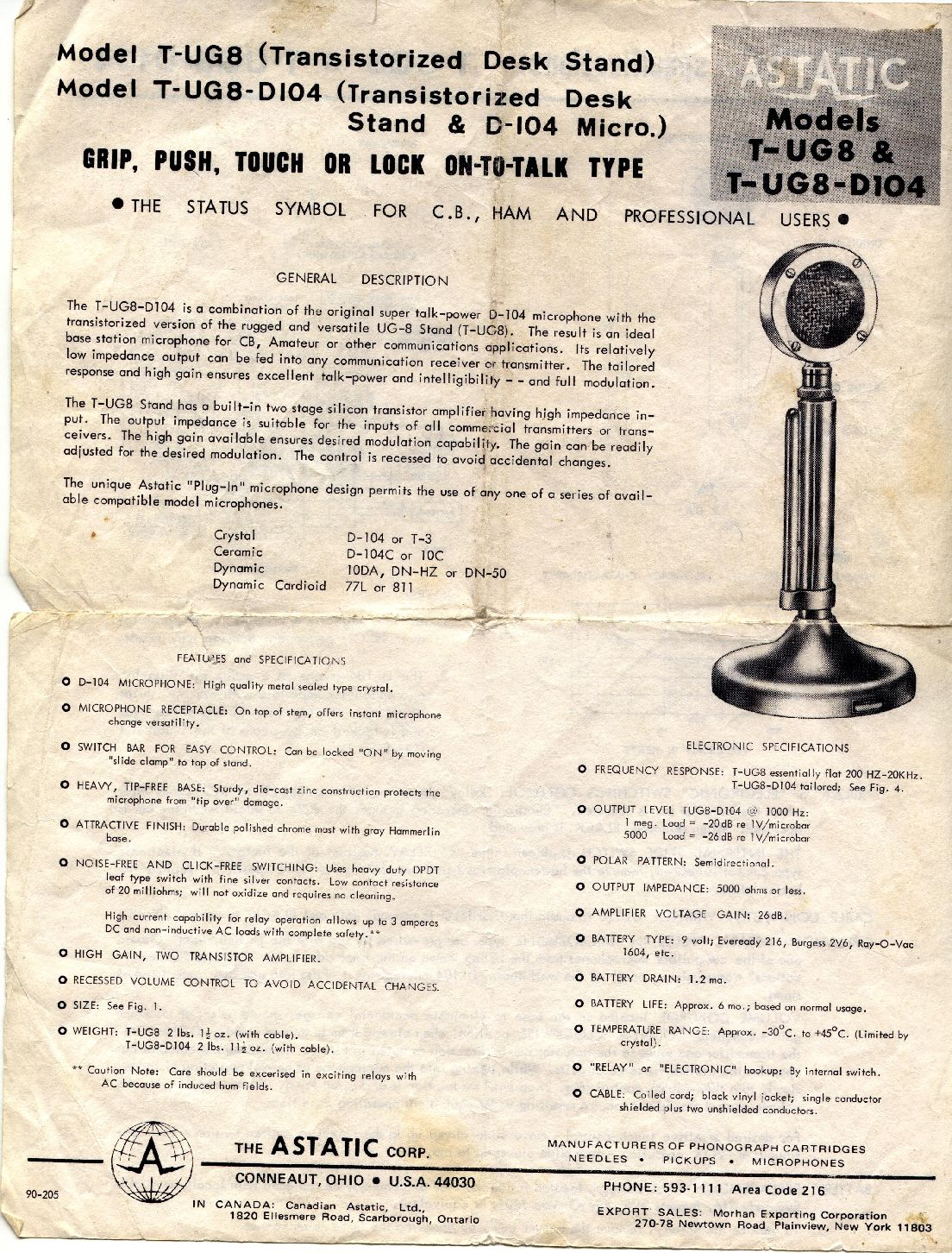 astatic_d104_manual_page1 a 1960's astatic d 104 mic in the 21'st century a real baby astatic silver eagle wiring diagram at honlapkeszites.co